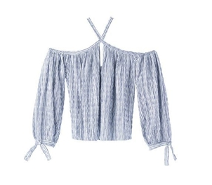 Rebecca Taylor Open Shoulder Yarn-Dyed Striped Top Tops