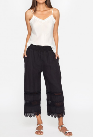 Johnny Was Trim Linen Cropped Pant
