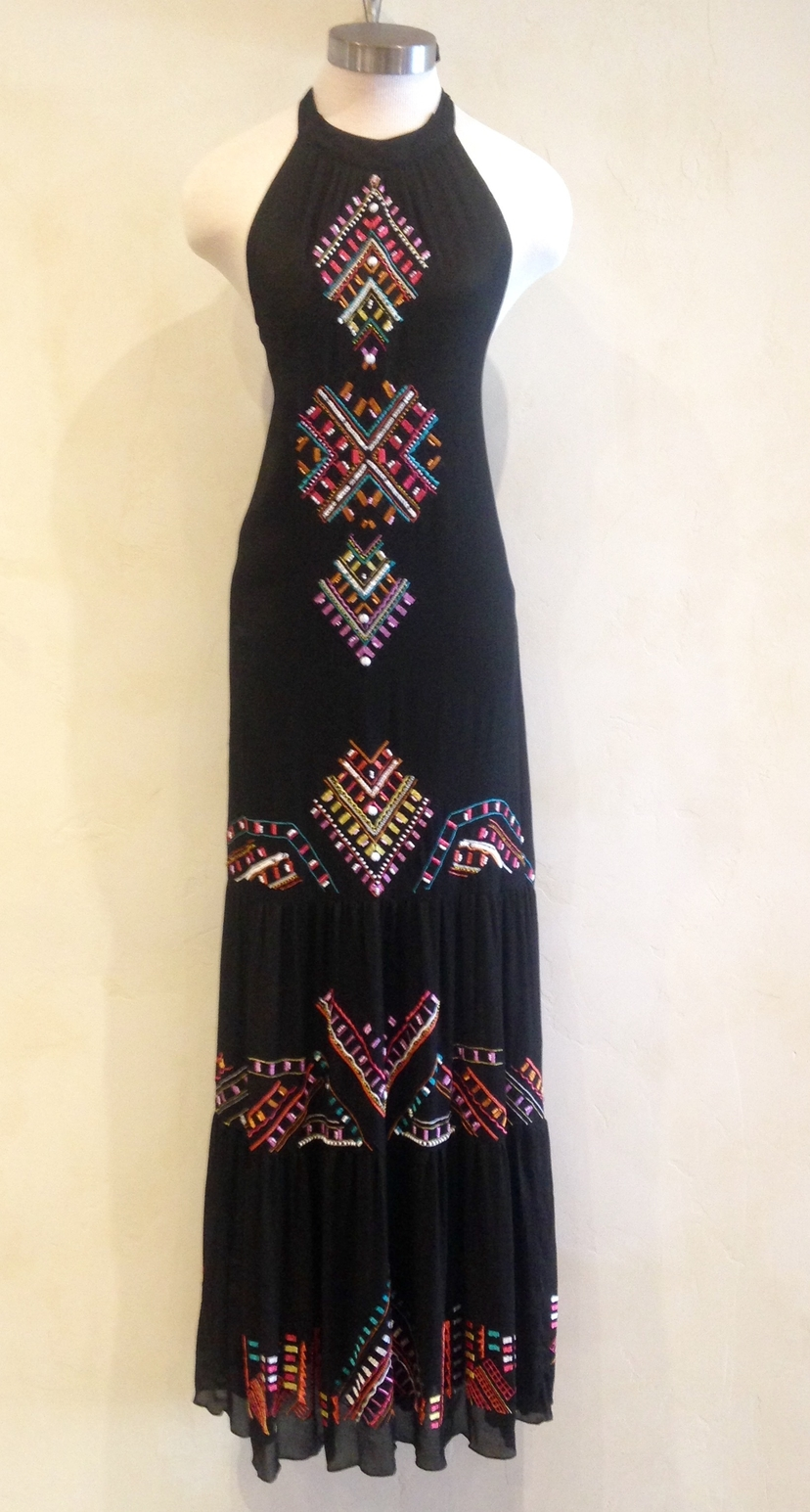 Nicole Miller Embroidered Maxi Dress Dresses