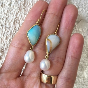 Margery Hirschey Opal and pearl drop earrings Jewelry
