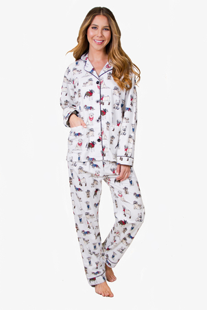 PJ Salvage Dog Flannel in Ivory Sleepwear