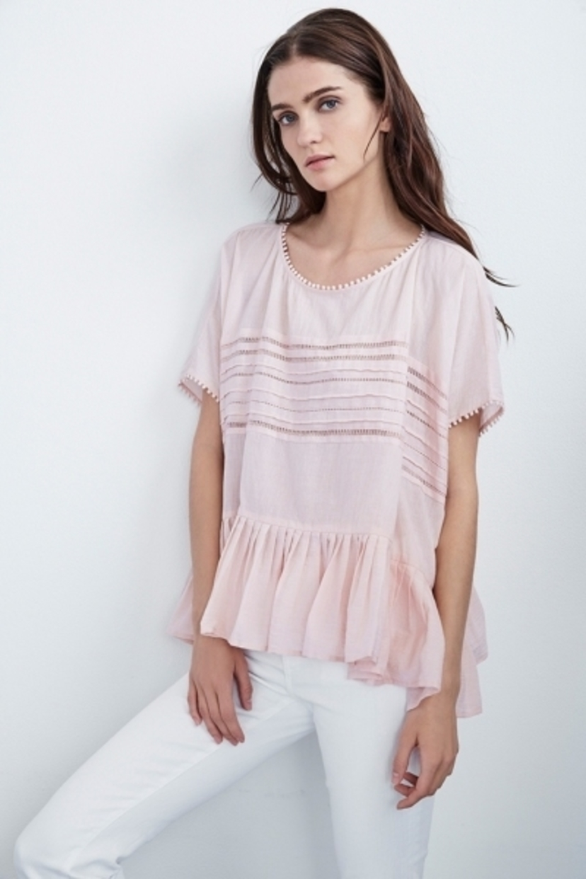 Madi Cotton Voile Pleated Dolman Top