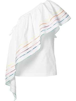 Rosie Assoulin One Shoulder Rainbow Blouse - ON SALE Tops