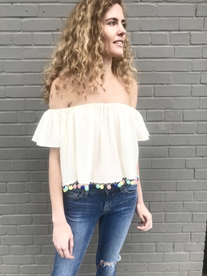 Off The Shoulder Pompom Top