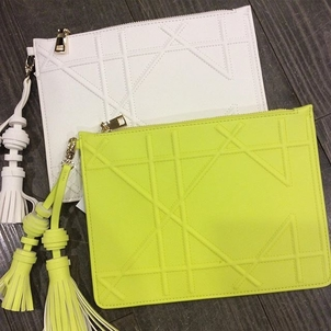 White & Lime Pouches Bags