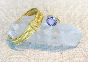 Marie-Helene de Taillac Braided Cuff and Amethyst Princess Ring